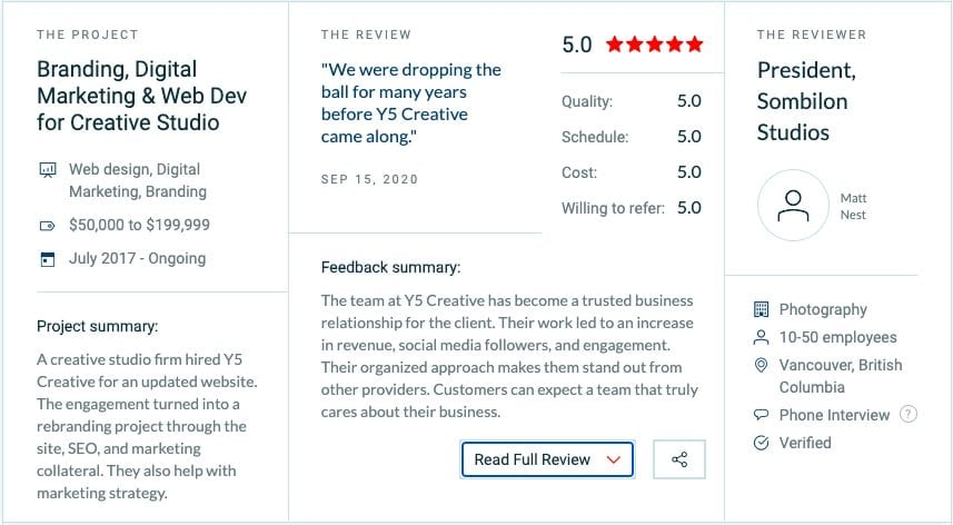 Y5 Blog More 5 Star Reviews On Clutch 1